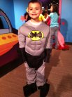 We checked out the Amazing Costumes exhibit at the Children's Museum.  This one was designed for Batman, but modeled by Batboy