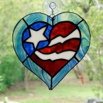 A patriotic heart suncatcher for Alice