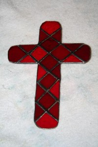 The cross in red mosaic to match a friend's kitchen décor.