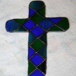 Green and blue mosaic cross.
