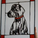 Made in memory of Molly, a friend's departed dalmation.  While it was a little sad knowing how much she was missed, the spotted glass was still pretty neat to work with.