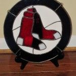 The Boston Red Sox window I made for Sara and Kevin's wedding gift.  It was really fun to surprise them by having it on their gift table at the reception.  Just don't expect one for the Patriots anytime soon...